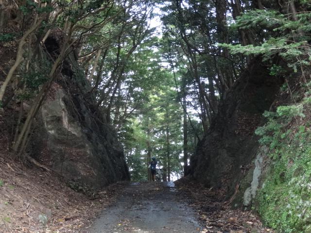 岩を切り開いた峠