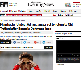 Adnan Januzaj set to return to Old Trafford after Borussia Dortmund loan