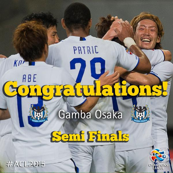 Congratulations to @GAMBA_OFFICIAL who have reached the #ACL2015 Semi Finals!