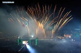 Fireworks are seen during the celebrations of the Cry of Independence led by Mexico