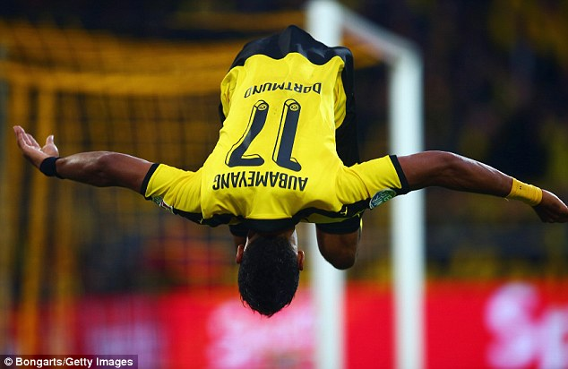 Aubameyang with trademark celebration after scoring from the penallty spot