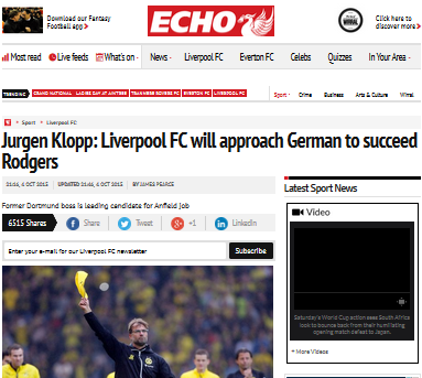 Jurgen Klopp Liverpool FC will approach German to succeed Rodgers
