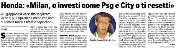 Honda esce allo scoperto Milan, o investi come Psg e City o ti resetti