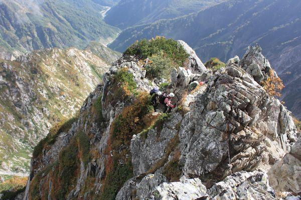 不帰Ⅱ峰南峰の登り