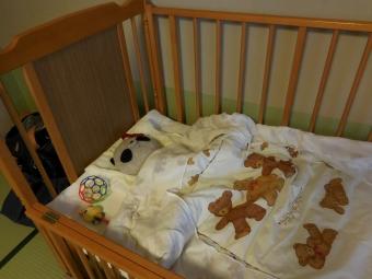 おばぶベッドで爆睡