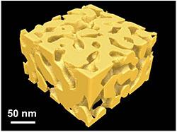 ナノ多孔質金属の3次元立体図