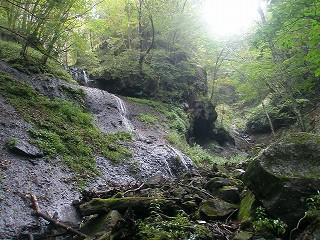 右俣と右岸から湧出するナメ滝