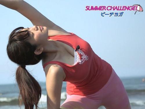 ビーチでヨガをする筧美和子のHカップの乳がくっそエロかった