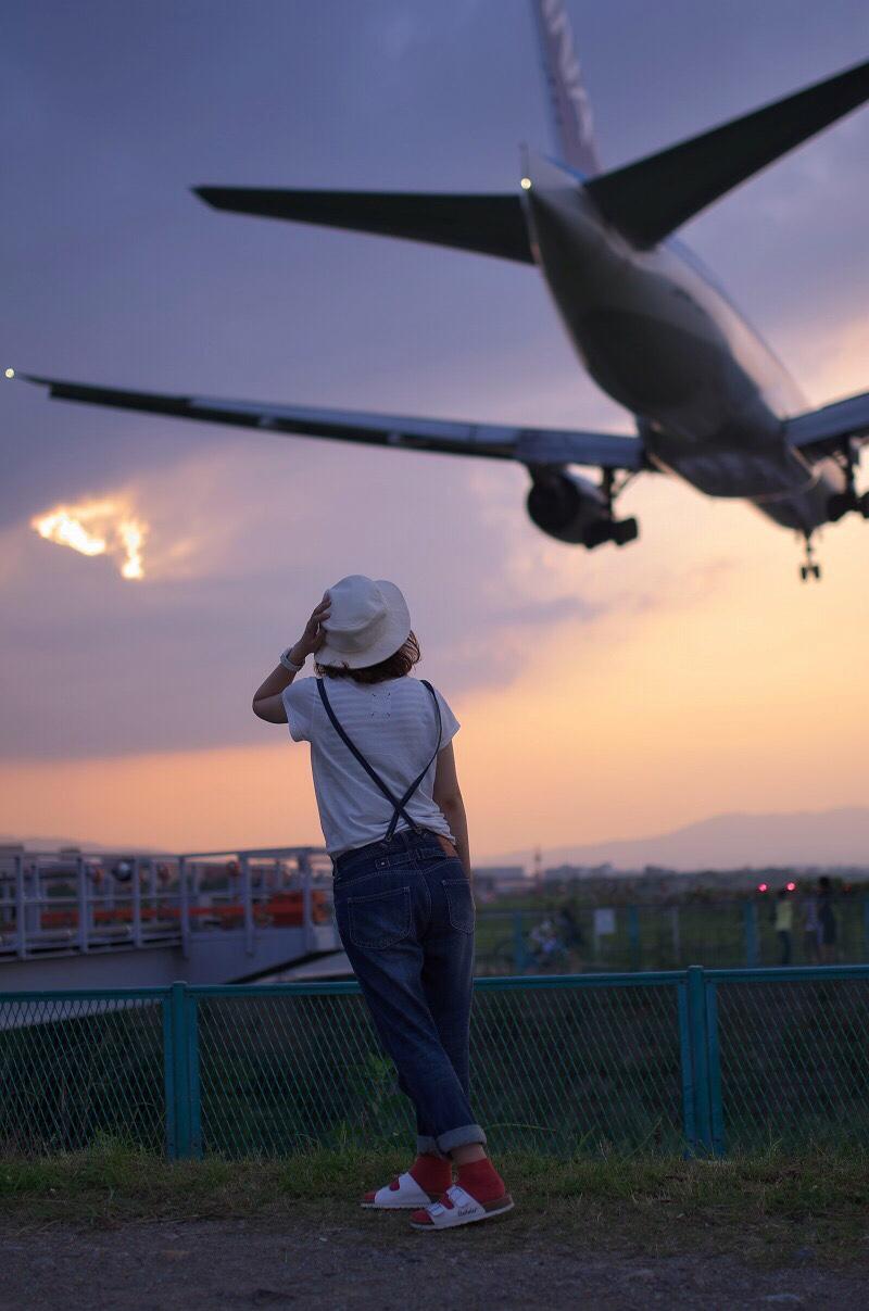 千里川で飛行機ポートレート