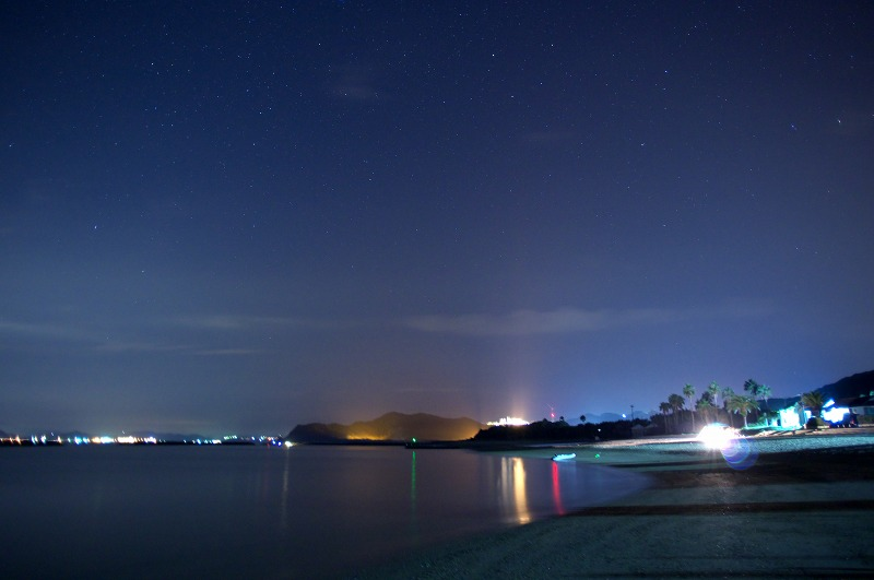 阿万海岸で星空とウミホタル