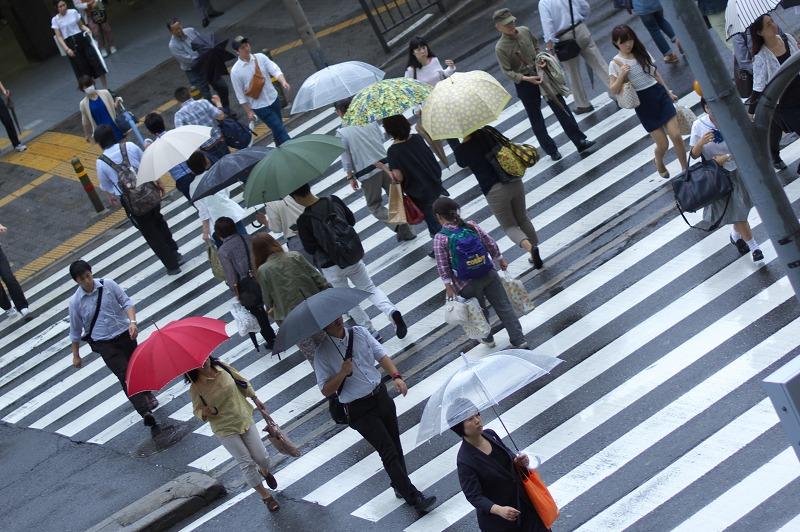 あべのハルカス 天王寺 横断歩道 雨 傘