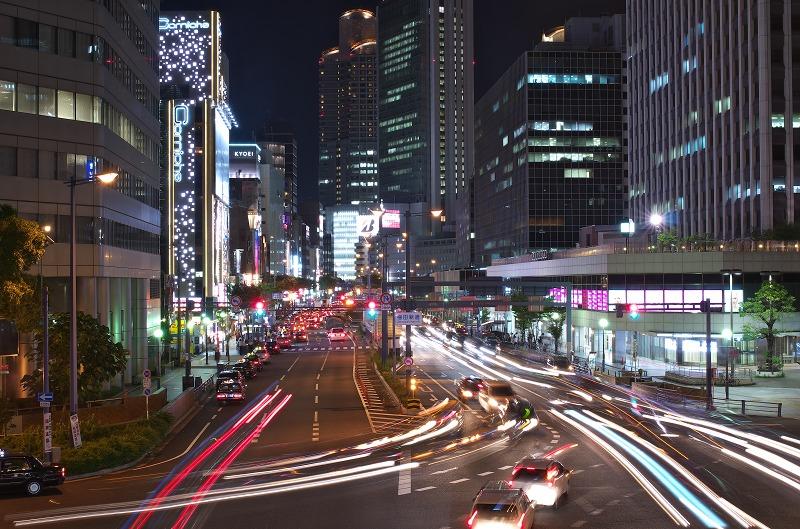 梅田新道歩道橋 夜景