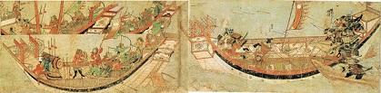 『蒙古襲来絵詞』後巻、絵十六【弘安の役】敵船に乗り込む竹崎季長と大矢野三兄弟、応戦する敵船。