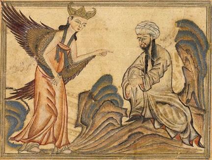 天使ジブリールから啓示を受けるムハンマド