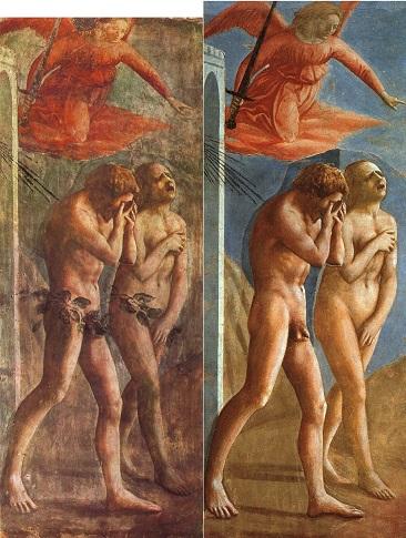 『楽園追放』(1426年 - 1427年) サンタ・マリア・デル・カルミネ大聖堂ブランカッチ礼拝堂(フィレンツェ) 左が修復前、右が1980年代に行われた修復後の画像で、後年になって付け加えられた股間の葉が除去されている