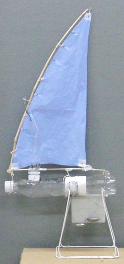 a PET bottle model sail boat of long hull