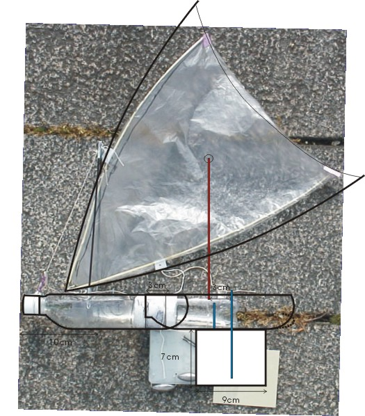 a PET bottle model sailboat with a crab claw sail