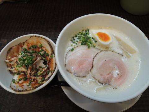 豚CHIKIしおラーメン(大盛)+ミニチャーシュー丼