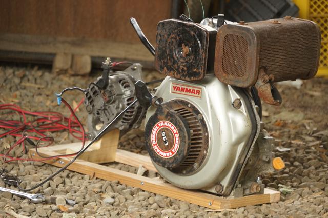 ヤンマーL35とRX-7のオルタネータで造った発電機テストベンチ
