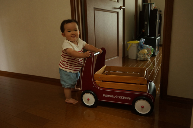 ラジオフライヤのクラッシック ウォーカー ワゴンを押す子供