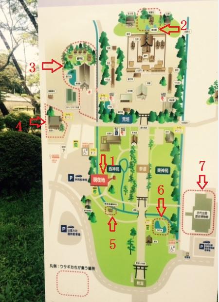 うさぎ石像案内図