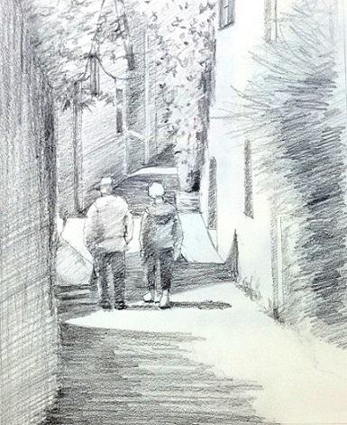 コンクバラのある路地鉛筆