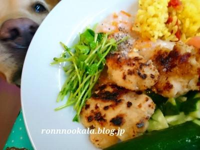 20150829 1ロンご飯 鶏肉 焦げた