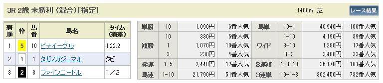 【払戻金】1011京都3(馬券 万馬券 的中)