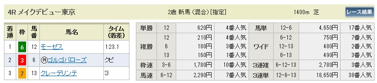 【払戻金】1017東京4(馬券 万馬券 的中)