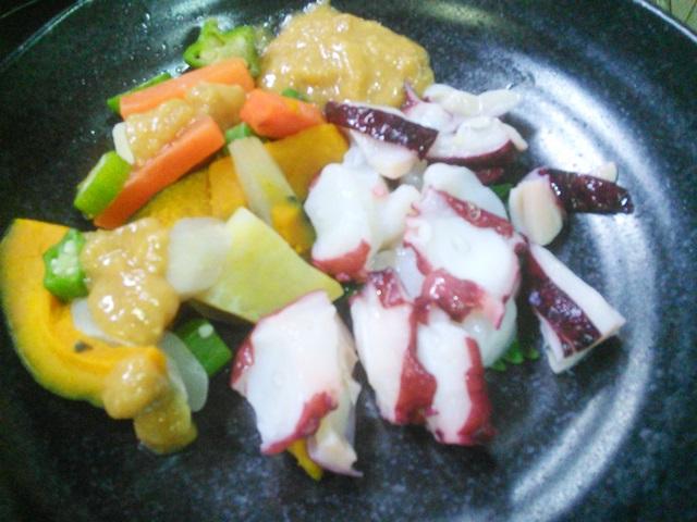 たこと野菜の酢味噌