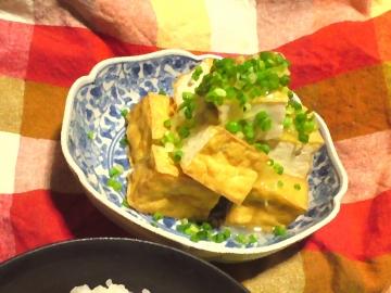 焼き絹生揚げの生姜あんかけ