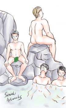 温泉の猿山