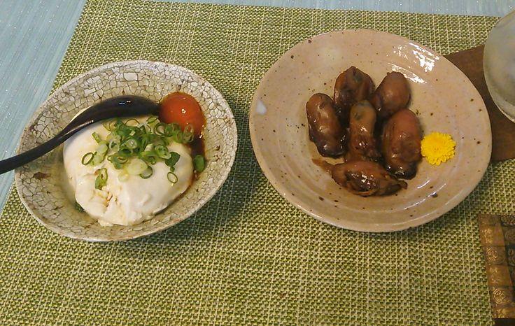 20150913大粒牡蠣山椒煮ざる豆腐
