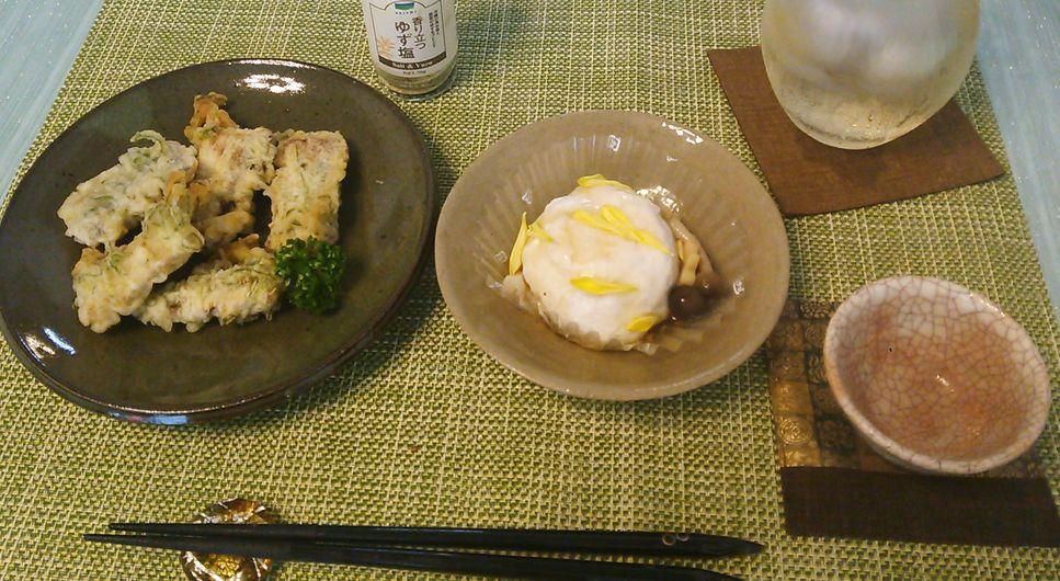 20150913秋刀魚の香り揚げ甘鯛菊花蒸し