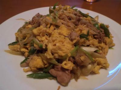 8.23豚肉・ネギ・卵の炒め物