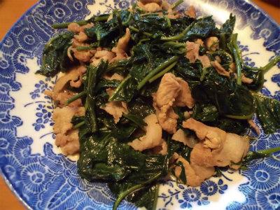 8.28空心菜と豚コマの中華炒め