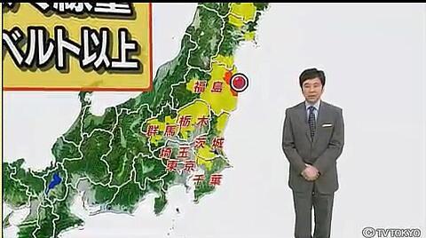 ■黄色い所が年間被曝線量1ミリシーベルトを超える地域 ■本来、入ってはいけない危険地域です。福島県外の首都圏にまで及んでいる
