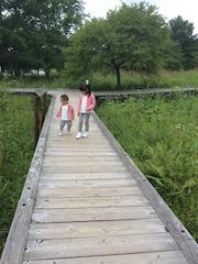 木道を仲良く歩く2人