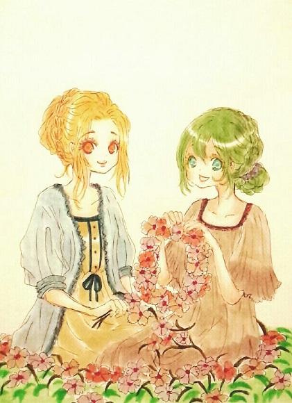 ローザとリディアとお花。