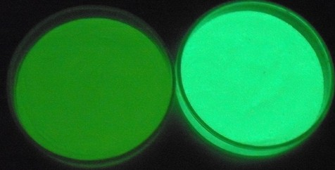 硫化亜鉛(左)とアルミン酸ストロンチウム(右)の暗所での残光