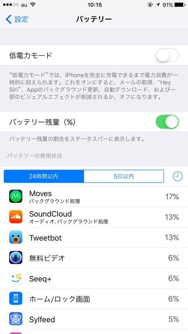 iPhone低電力モード