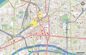 大阪実査予定店舗を地図に落とし込んでみました