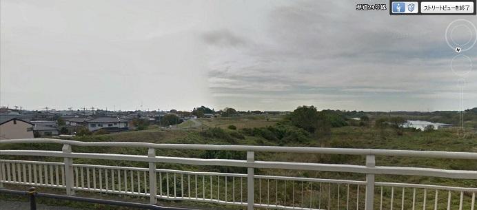 2015-9-17常総市石下大橋から鬼怒川決壊方面(下流)を見る
