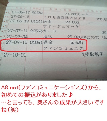 A8ネット振込情報
