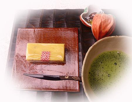 芋羊羹&お抹茶
