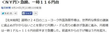 news<NY円>急騰、一時116円台