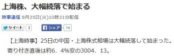 news上海株、大幅続落で始まる
