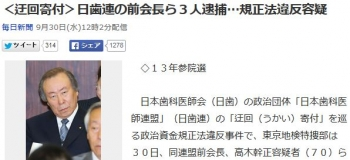news<迂回寄付>日歯連の前会長ら3人逮捕…規正法違反容疑