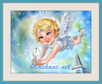 天使とハムスターのイラスト