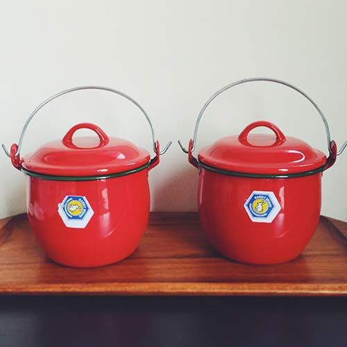 タイ ホーローふた付き鍋